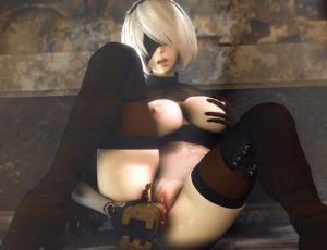 2b masturbating with a robot in source filmmaker porn clip