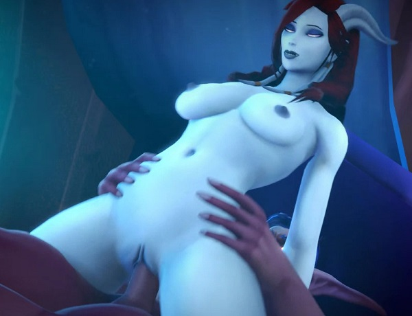 World of Warcraft rule34 - Draenei reverse cowgirl